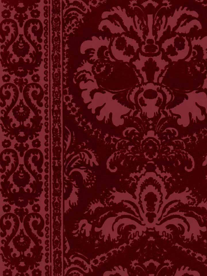 victorian flocked velvet wallpaper - Tone on Tone burgandy (FLK-103)