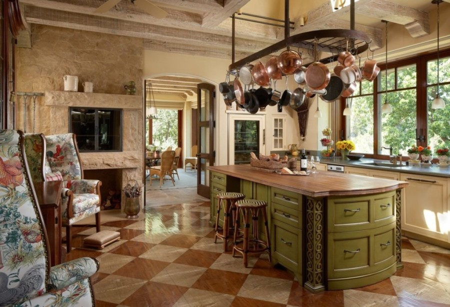 kitchen with painted floors