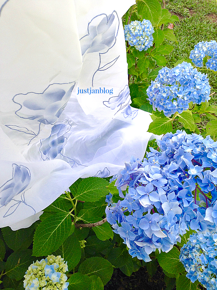 White fabric with hydrangeas