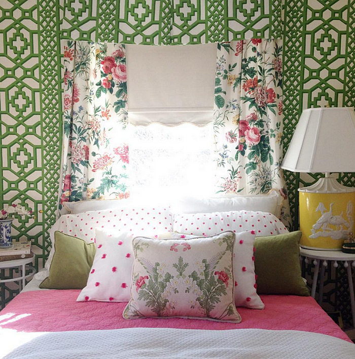 Jessika Goranson Lewand green and pink guest bedroom