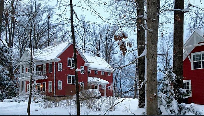 Karen Keysar red home in snow